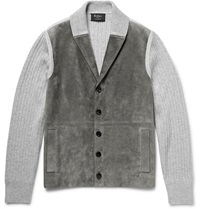 Berluti Shawl Collar Suede And Ribbed Cashmere Cardigan Gray