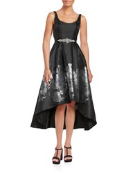 Betsy And Adam Floral Jacquard Hi Lo Dress Black Silver