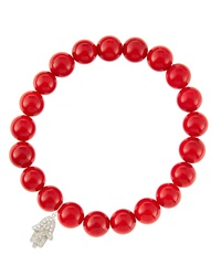 Sydney Evan 8Mm Red Coral Beaded Bracelet With 14K White Gold Diamond Small Hamsa Charm Made To Order