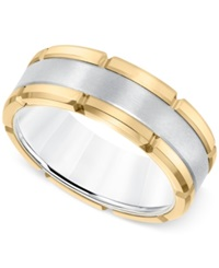 Macy's Comfort Fit Band 8Mm In Yellow And White Tungsten Carbide Two Tone