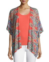 Neiman Marcus Cashmere Collection Bordered Paisley Knit Kimono Fire Orange Mlt