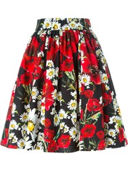 Dolce And Gabbana Daisy And Poppy Print Skirt Black
