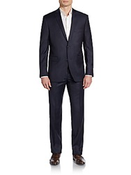 Saks Fifth Avenue Red Trim Fit Pinstripe Wool Suit Navy Pinstripe