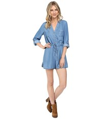 Brigitte Bailey Kenton Chambray Romper Denim Blue Women's Jumpsuit And Rompers One Piece