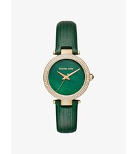Mini Parker Pave Gold Tone And Leather Watch