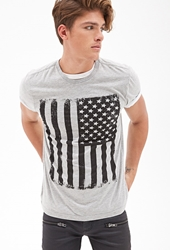 Forever 21 American Flag Tee Heather Grey Black