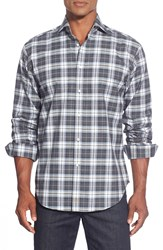 Thomas Dean Regular Fit Plaid Sport Shirt Charcoal