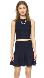 Alice Olivia Bess Textured Dots Crop Tank Navy Black