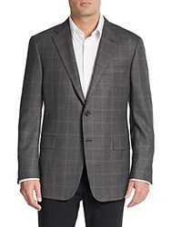 Hickey Freeman Regular Fit Houndstooth Check Worsted Wool Sportcoat Charcoal