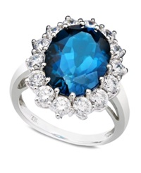Macy's London Blue Topaz 7 Ct. T.W. And White Topaz 2 Ct. T.W. Oval Ring In 14K White Gold