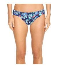 Tommy Bahama Folk Floral Side Shirred Hipster Bikini Bottom Mare Navy Women's Swimwear