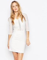 Daisy Street Dress With Sheer And Lace Inserts White