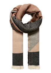 Hallhuber Scarf With Graphic Patterning Beige