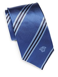 Versace Striped Italian Silk Tie Blue