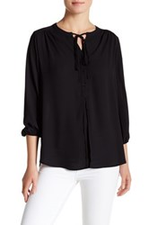 Pleione Boyfriend Peasant Blouse Black