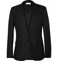 Saint Laurent Grey Slim Fit Pinstriped Wool Blazer Charcoal