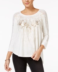 Miss Me Embellished Feather Print Top Off White