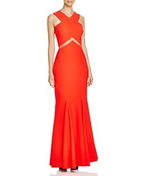 Mignon Cross Front Illusion Inset Gown Tomato
