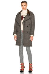 Isabel Marant Friso Show Pardessus Jacket In Gray Checkered And Plaid Gray Checkered And Plaid