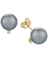 Macy's Cultured Tahitian Pearl 9Mm And Diamond Accent Stud Earrings In 14K Gold