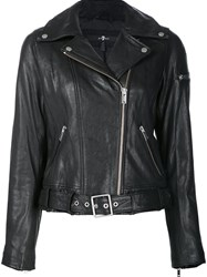 7 For All Mankind Zip Up Biker Jacket Black