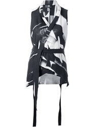 Ann Demeulemeester Belted Abstract Print Wrap Vest Black