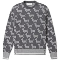 Thom Browne All Over Hector Crew Knit Grey