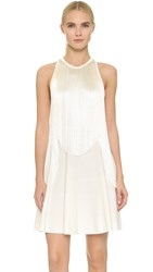 Giamba Sleeveless Fringe Dress White