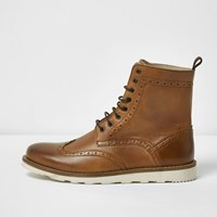 River Island Mens Tan Leather High Ankle Brogue Boots