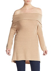 Halston Off The Shoulder Knit Tunic Camel Gold