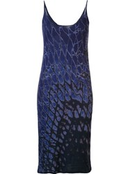 Raquel Allegra Sleeveless Dyed Pattern Dress Blue