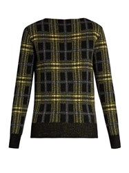Tomas Maier Plaid Wool And Cashmere Blend Sweater Black Yellow