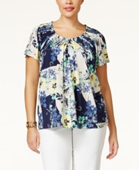 Styleandco. Style And Co. Plus Size Printed Pleat Neck Top Only At Macy's