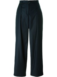 Akris High Waist Wide Leg Trousers Blue