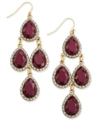 Inc International Concepts Gold Tone Wine Stone And Pave Chandelier Earrings Only At Macy's Merlot