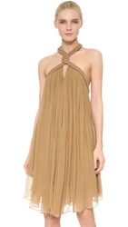 Jay Ahr Sleeveless Halter Dress Beige