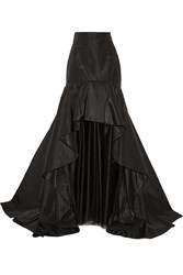 Oscar De La Renta Layered Silk Faille And Tulle Maxi Skirt Black