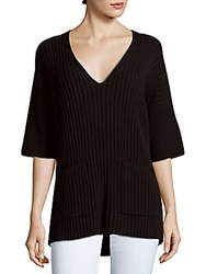 Lafayette 148 New York Woolen Ribbed V Neck Sweater Black