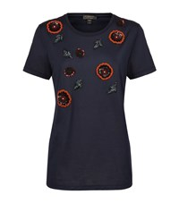 Burberry London Beaded Flower T Shirt Female Navy