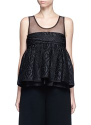 Ms Min Tulle Panel Silk Blend Jacquard Top Black