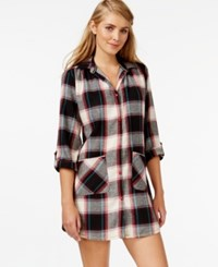 Lucky Brand Long Sleeve Flannel Sleepshirt Black Plaid