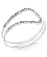 Inc International Concepts Silver Tone Pave Open Loop Cuff Bracelet Only At Macy's