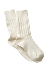 Shimera Cozy Rib Crew Socks White