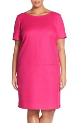 Plus Size Women's Tahari Basket Weave Drop Waist Shift Dress