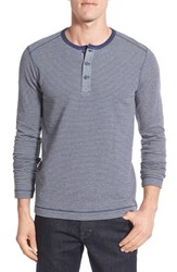 Nordstrom Men's Men's Shop Washed Stripe Knit Long Sleeve Henley Grey Heather Navy Stripe