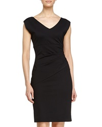 Diane Von Furstenberg V Neck Ruched Waist Dress Black