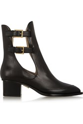 Maiyet Cutout Buckled Leather Ankle Boots Black