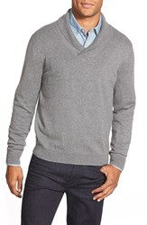 Men's Nordstrom Cotton And Cashmere Shawl Collar Sweater Grey Driftwood Heather