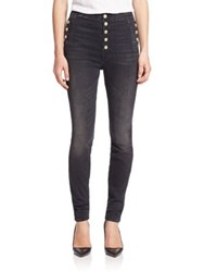 J Brand Buttoned Faded Slim Fit Jeans Anthracite