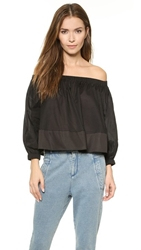 Cynthia Rowley Cotton Peasant Crop Top Black